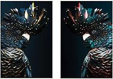 zhengchen Bird Print Black Cockatoo Wall Art Navy
