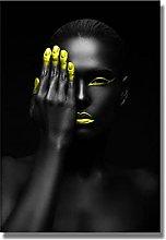 zhengchen Black Girl Makeup Canvas Painting Modern