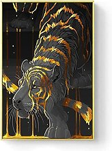 zhengchen Print on Canvas Abstract Tiger with
