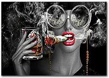 zhengchen Print on Canvas Fashion Smoking Woman