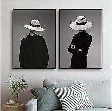 zhengchen Print on Canvas Fashion Woman with Hat