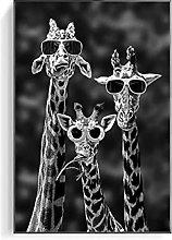zhengchen Print on Canvas Funny Giraffe Family