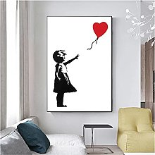 zhengchen Print on Canvas Girl with Red Balloon