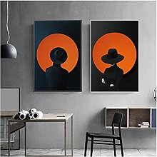 zhengchen Print on Canvas Girl Woman With Cap