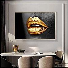 zhengchen Print on Canvas Golden Lips Canvas