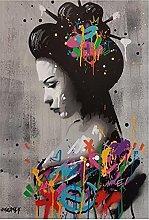 zhengchen Print on Canvas Japanese Woman Portrait