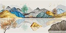 zhengchen Print on Canvas Modern Abstract Golden