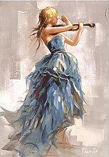 zhengchen Print on Canvas Modern Girl Playing The