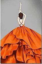 zhengchen Print on Canvas Modern Orange Women