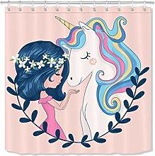 zhenshang Beauty Girl & Unicorn Shower Curtain