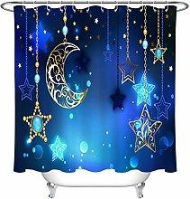 zhenshang Blue shower curtain moon wear-resistant
