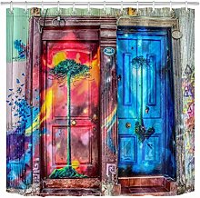 zhenshang Colorful graffiti wooden door shower