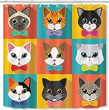 zhenshang Cute cat head series shower curtain