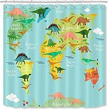 zhenshang Dinosaur era map shower curtain