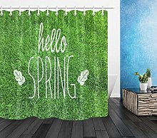 zhenshang Hello spring green meadow shower curtain