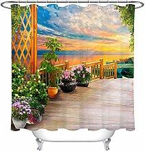 zhenshang Seaside corridor flower shower curtain