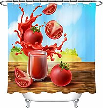 zhenshang Shower Curtain Summe Fresh Tomato Juice