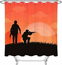 zhenshang Sunset shot soldier shower curtain