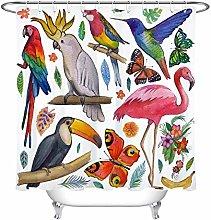 zhenshang Tropical bird flower shower curtain
