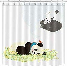 zhenshang Watercolor cute panda shower curtain
