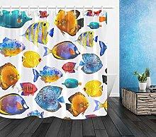 zhenshang Watercolor tropical fish shower curtain