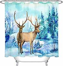 zhenshang Watercolor winter forest deer bathroom