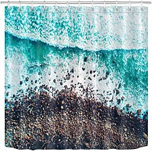 zhenshang Wave seaside gravel shower curtain