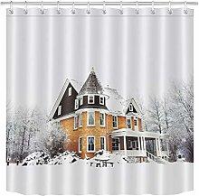 zhenshang Winter snow house shower curtain