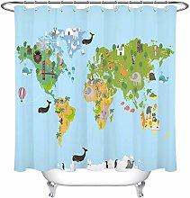 zhenshang World animal map shower curtain