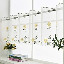 ZHH Cafe Net Voile Curtain Yellow Daisy Embroidery