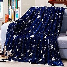 ZHH Star Throw Blanket Navy Blue Soft Flannel Baby