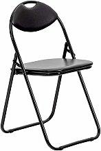ZHHk Black Padded, Folding, Desk Chair/Black Frame