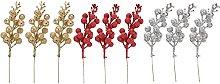 ZHICHUAN 9Pcs Christmas Glitter Berry Stems