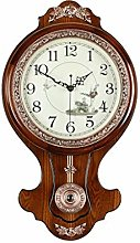 ZHICHUAN Clock European Style Solid Wood Wall