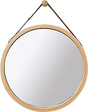 ZHICHUAN Round Glass Wall Mirror Art Wood Frame,
