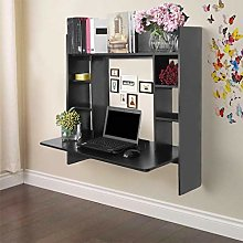 ZHIJIE Black Hanging Desk Work Station,Wall