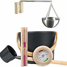 ZHIRCEKE Sauna Kit 7-L-Sauna Bucket Set with Long Handle Spoon, Sauna Wellness Set of Wooden, Aromatherapy Oil Cup Kit for Sauna and Spa, Indoor Swimming Pool