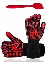 Zhjdongtuo BBQ Oven Mitts Grill Gloves (Red)
