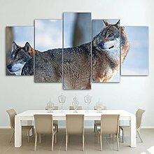 ZHONGZHONG 5 Panel Wall Art Animal Couple Wolf The