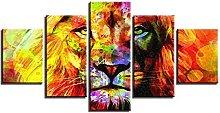 ZHONGZHONG 5 Panel Wall Art Animal Lion Color