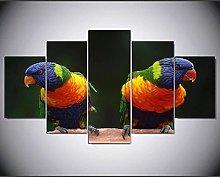 ZHONGZHONG 5 Panel Wall Art Animal Parrot Bird The