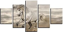 ZHONGZHONG 5 Panel Wall Art Animal White Horse The