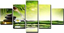 ZHONGZHONG 5 Panel Wall Art Bamboo Water Painting