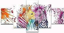 ZHONGZHONG 5 Panel Wall Art Color Zebra Animal