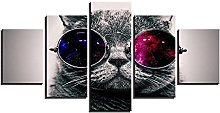 ZHONGZHONG 5 Panel Wall Art Cute Cat Animals The