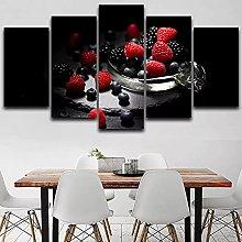 ZHONGZHONG 5 Panel Wall Art Delicious Fruits