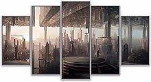 ZHONGZHONG 5 Panel Wall Art Inverted Mirror City