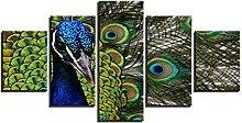 ZHONGZHONG 5 Panel Wall Art Peacock Animal