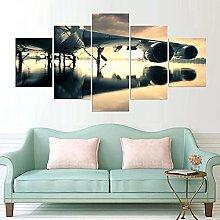 ZHONGZHONG 5 Panel Wall Art Pictures Airplane