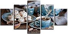 ZHONGZHONG 5 Panel Wall Art Pictures Coffee Cup